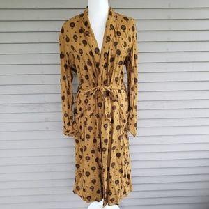 Vintage Mustard Fleur de Lis Tie Wrap Dress